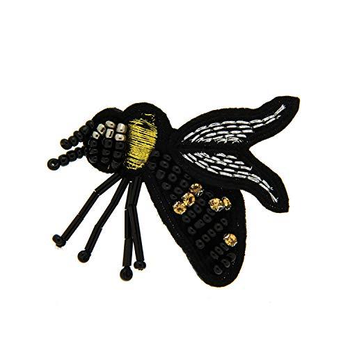 Sweet Deluxe Brosche Biene 4.0, schwarz/gelb/weiß I ausgefallene Blusenbrosche für Damen & Mädchen I Frauen-Brosche für Abendkleid & Bluse I Anstecknadel