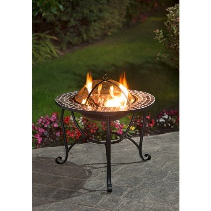New Metal construction ,Matte black finish Contemporary Mosaic Fire Pit