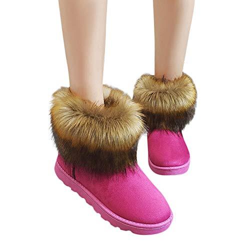 OSYARD Damen Schneestiefel Flache Boots Stiefeletten Slip On Schlauchstiefel, Frauen Shoes Snow Bootie Kurze Stiefel Winter Warme Baumwolle Schuhe(235/38, Pink)