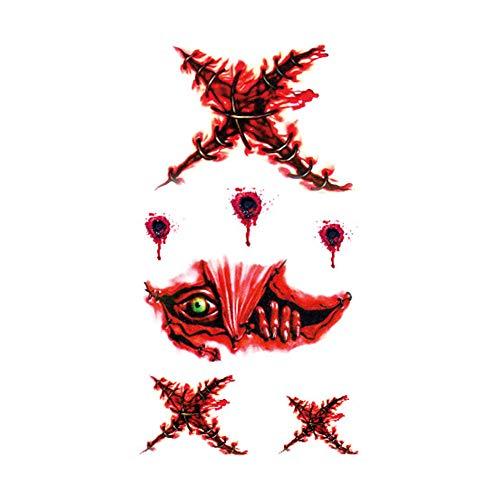 5er Pack Halloween Schreckliches Thema wasserdichte temporäre Tätowierung-Aufkleber Make-up Tattoos Lebensechte Wunde Party Festival Dekoration Kostüm Club Supplies RC-610 (5k Halloween-kostüme Für)