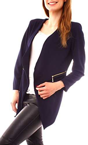 Easy Young Fashion Damen Long Blazer Jacke kragenlos Gehrock für Business und Freizeit One Size Marine
