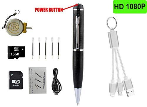 LemoCam HD 1920X1080P Spy Pen Kamera 16G Versteckte Kamera Stifte + Kostenlose TF-Karte + Kartenleser + 5 Tintennachfüllungen + Schlüsselbund Ladekabel (Ipads Mit Kamera)