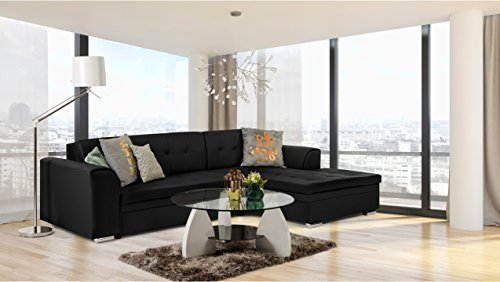 JUSTyou Fortuna I Canapé d'angle Sofa canapé lit Simili Cuir Simili Cuir (lxLxH): 165x270x80 cm Noir Angle Droit