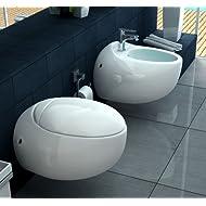 Sanitari Vaso WC e Bidet sospeso moderno ceramica Bagno Italia