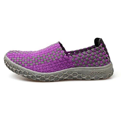 Hommes Chaussures décontractées Été Mode portable Respirant Tisser Des sandales Purple