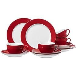 Ritzenhoff & Breker 597226 Doppio - Juego de café (12 Piezas), Color Rojo