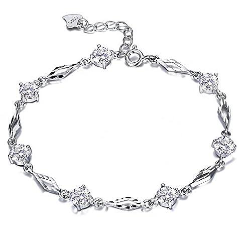 F.ZENI Femmes Bracelets Argent 925 Pétillant Zircone cubique Amour et