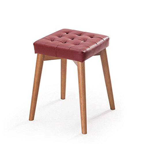 Rollsnownow Coussin en cuir de vin rouge Tabourets en bois massif Creative Dressing tabouret Tabouret de table en tissu Accueil petit banc (Color : Red brown wooden frame)