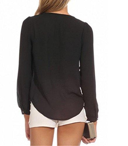 QIYUN.Z Reizvolle Frauen Des Normallacks Lose Chiffon Blusen Hemd Mit Langen aermeln V-Ausschnitt Reissverschluss Black