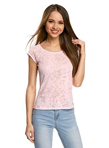 oodji Collection Damen T-Shirt Aus Texturiertem Stoff mit Raglan-Ärmeln, Rosa, DE 40/EU 42/L (Rosa Raglan-Ärmel)