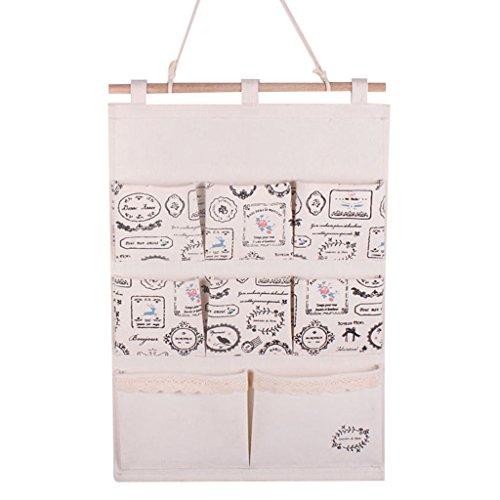 GudeHome Lino / cotone tessuto a parete porta Organizzatore armadio appendiabiti bagagli del sacchetto della cassa 8 tasche casa Organizer