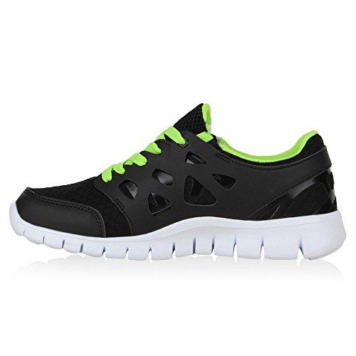 Herren Laufschuhe Sneakers Runners Sportschuhe Lack Schwarz Neongrün Avion