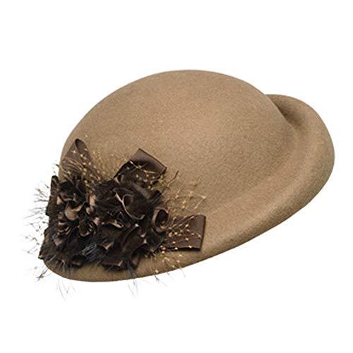 (Vintage Blume Wollfilz Cloche Fedora Hut Für Damen Kirche Bowler Hüte Derby Party Mode Winter Frauen Casual Weiche Klassische Kappe Hut (Farbe : Camel))
