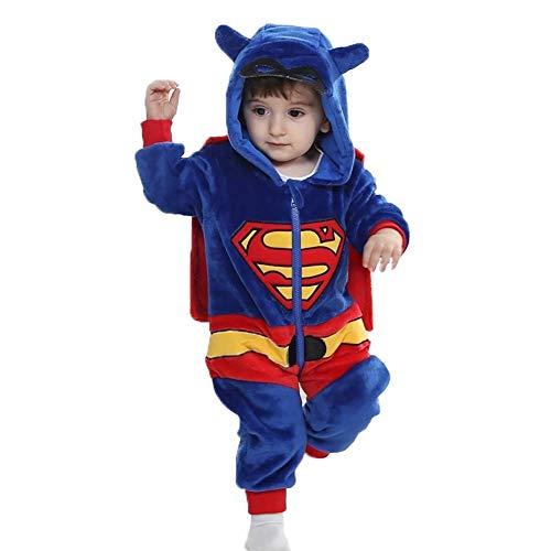 Baby Strampler Tier Spielanzug Flanell Jumpsuit Winter Bekleidung Babybekleidung (Superman, 73 cm (90))