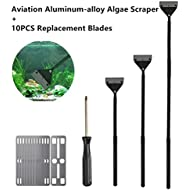 BUYGOO 65cm Algae Scraper for Glass Tank, Aviation Aluminum-alloy Fish Tank Scraper Cleaner with detachable rod and 10PCS Replacement Stainless Steel Blades for Aquarium, Fish Tank