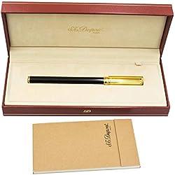S.T. Dupont pluma estilográfica Negro y Oro 24KT capuchón A rayas
