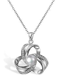 68ec1439fb37 Aroncent Collar Mujer de 925 Plata de Ley Esterlina Colgante Pétalos de  Flores con Circonita Perla Joyería Elegante…