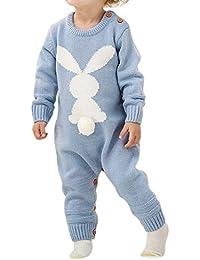 af838485d35f BOBORA Newborn Winter Jumpsuit, Baby Girls Boys Long Sleeve Knitted Rompers  Bodysuits Infants Cute Rabbit