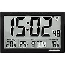 TFA 60.4510.01 Reloj Digital de Pared Negro con termómetro y Sensor Remoto tamaño XXL