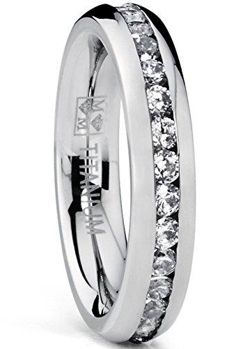 4MM Damen Titan Ewigkeit Ehering Mit Zirkonia Größe 56 Zirkonia Ringe In Titan