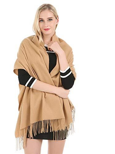 Haojing Damen Large Premium Kaschmir und Cashmere Pashmina Wrap Schal(Camel)