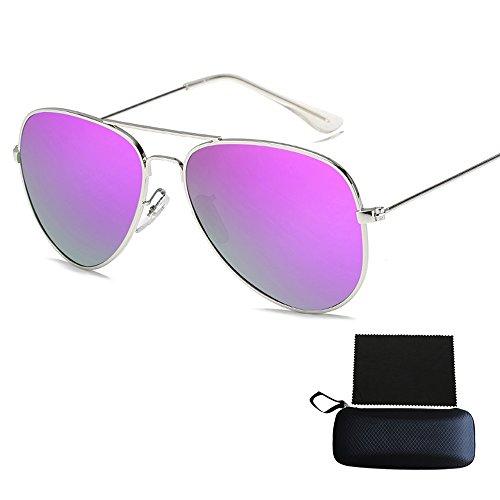 Pingenaneer Polarisiert Sonnenbrille Schick Klassische Brille Metall Rand Rahmen Harz Linse UV400 Schutz für Herren und Damen