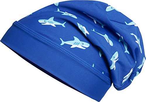 Playshoes Jungen Mütze Beanie Hai mit UV-Schutz, Blau 7, Medium (Herstellergröße: 53cm)