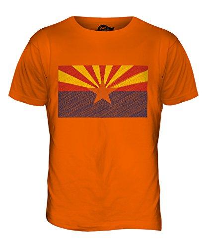 CandyMix Bundesstaat Arizona Kritzelte Flagge Herren T Shirt Orange