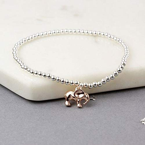 Maia Gifts Rose Gold Elephant Silver Plated Charm Bracelet