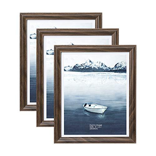 Metrekey 3er Set Bilderrahmen 20x25 cm Braun Holzmaserung aus MDF mit Echtglas Deko Fotorahmen für Foto Urkunden wandhängend oder freistehen