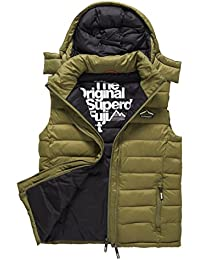 SUPERDRY Fuji Double ZIP Hooded Vest, Abrigo Impermeable para Hombre