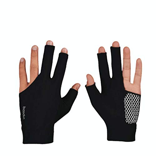MISS&YG Billardhandschuhe Lycra verschleißfeste Dystinger-DREI-Finger-Billard-Handschuhe (eine statt EIN Paar),Black,M