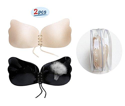 Trägerloser Demi-BH 2 Paar Silikon Nackt Unsichtbar Selbstklebendem Push-Up Klebe-BH mit Tunnelzug, für Rückenfreie Abendkleider, Brautkleider (Cup B, Draht-Zeichnung (Beige + Schwarz))