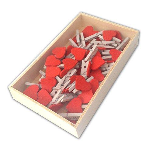 Preisvergleich Produktbild LWR Stellmotor Crafts Mini-Holz-Wäscheklammern weiß mit rot Herz 48 Stück in Box