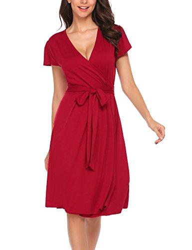 Beyove Damen Polka Dots Wickelkleider V- Ausschnitt Jersey Kleid Wickeloptik Partykleider Weinrot
