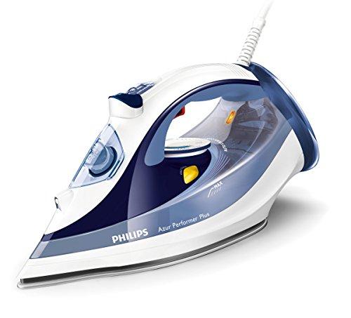 Philips Azur Performer Plus GC4516/20 - Plancha de vapor, 2400W, golpe de vapor 190g, vapor de 45g/min, 0.3 litros, Suela StreamGlide Plus, Acero Inoxidable, Azul