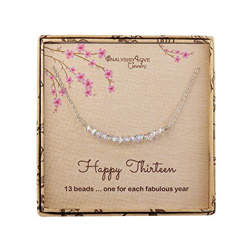 Halskette zum 13. Geburtstag für Mädchen, Sterlingsilber, Perlen-Halskette, Geschenk für 13 Jahre alte Mädchen (Alte Halskette)