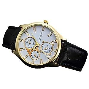 Herren Retro Geschäft Uhren Lederband Analog Legierung Quarz Uhr Gentleman Armbanduhr Groveerble