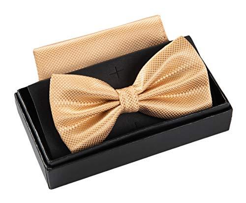 Massi Morino ® Herrenfliegen Set mit Tuch in Beige Männer Anzug Schleife Krawattenfliege bowtie champagner beigefarben champagnerfarben hellefliege beigefliege sandfarben (Damen Mit Krawatte Hemd)