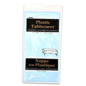 "Plastic Tablecover 54""X108""-Powder Blue"
