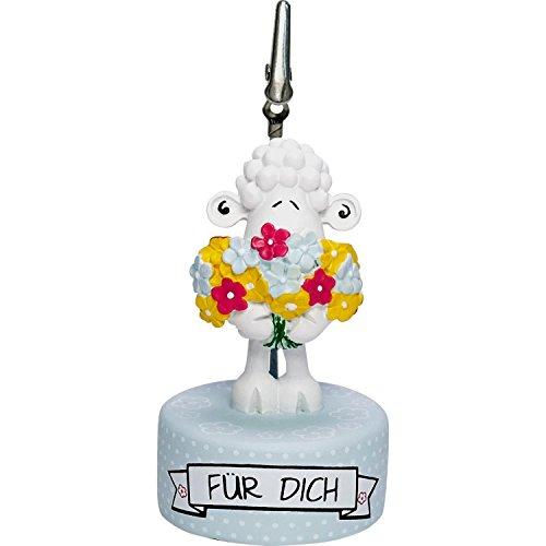 Die Geschenkewelt 45589 Sheepworld Fotohalter mit Spruch am Sockel, mit Schaf-Figur und Blumen, Hellblau, Höhe: 8 cm, Durchmesser: 4,5 cm, Geschenk