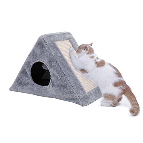 KratzmöbelKatzenhaus Kratzmatte kratzbretter Speedy Pet Katze Scratcher Kratzbaum mit Spielzeugball für kleine Katze Kätzchen Grau