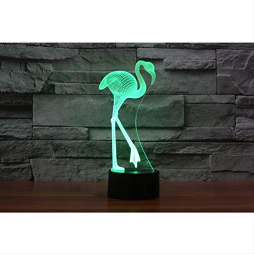 FREEZG 3D Flamingo LED luz de la noche 7 color atenuación ilusión...