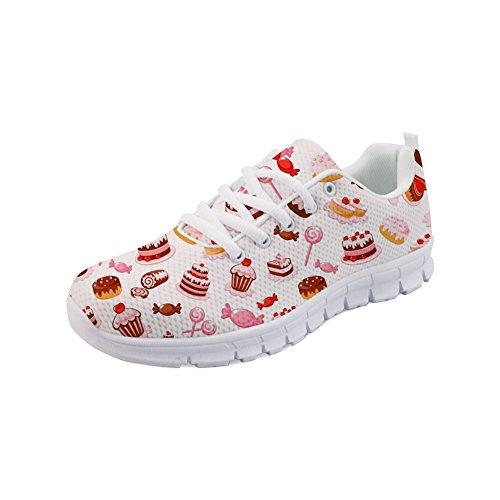 Nopersonality Damen Atmungsaktiver Trainer Sneaker Lässige Sportschuhe Leichte Cute Printed Ice-Cream Candy Cake - Gr:-42 EU