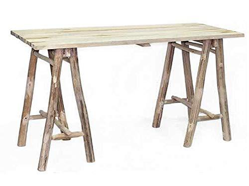 Fair-Shopping Tisch Teak-Holz Anrichte Esszimmertisch Steck-Tisch Esstisch Natur/Braun 150x60cm 300717 - Teak-klapp-beistelltisch