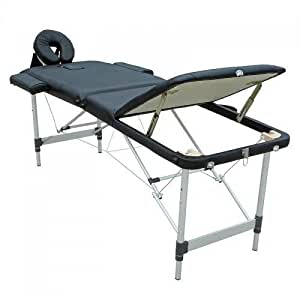 FeelGoodUK Black Super Lightweight Aluminium Folding Portable Massage Table Couch Bed 12kg TM04 - Rounded Table Corners + FREE Accessories & FREE Carry Bag - 3 SECTION by FeelGoodUK