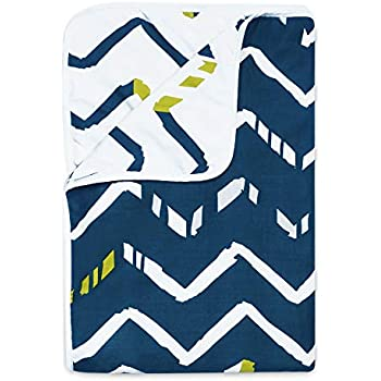 Divine Casa Microfiber Reversible 100 GSM Abstract Single A/C Dohar/Blanket/Quilt - Ensign Blue and White