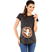 Zeta Ville - Camiseta Premamá estampado bebé de fútbol T-shirt para mujer - 507c