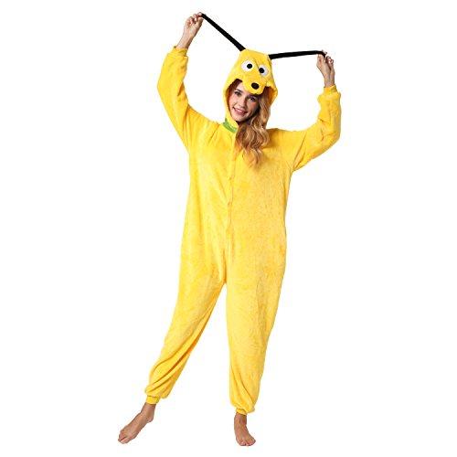 Witziger Hund-Onesie Jumpsuit, Süßes Hündchen-Kostüm, Fasching, Karneval, Party, Hausanzug in Gelb-Weiß, Cosplay Einteiler, Sleepsuit Kapuze, lustiges Tier-Outfit, flauschig bequem, Hunde-Pyjama Pluto