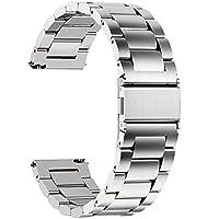 Fullmosa roestvrijstalen armband watch band metalen horlogebanden met snelsluiting geschikt voor dames en heren, 20mm Zilver